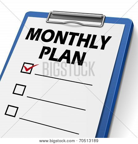 Monthly Plan Clipboard With Check Boxes