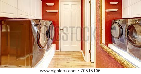 White And Red Laundry Room Interior