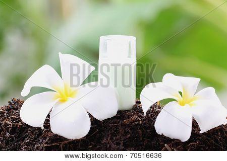 White Frangipani And Perfume Bottle On Ground.