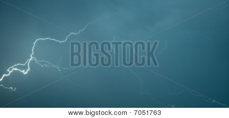 Panoramic Photograph Lightning Flashes
