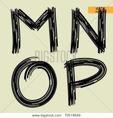 art sketched set of vector character handmade graphic black fonts, uppercase symbols, letters M, N, O, P