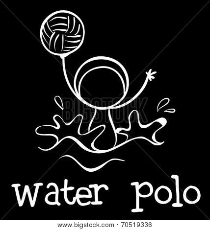 Illustration of a water polo sports on a black background