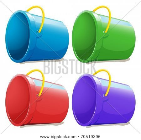 Illustration of the four empty pails on a white background