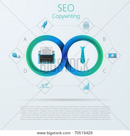 Vector infographic for SEO or copywriting with Mobius ribbon