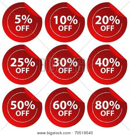 Illustration of different percentage of discount stickers