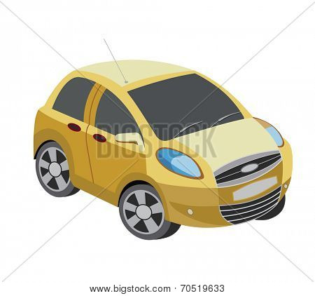 yellow car isolated on white (vector illustration)