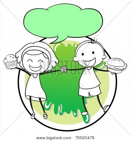 Illustration of a girl and a boy with an empty callout template on a white background