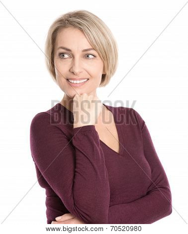 Isolated Smiling Middle Aged Woman In Fall Clothes Looking Sideways.