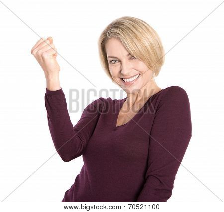 Isolated Successful And Happy Older Woman In Pullover.