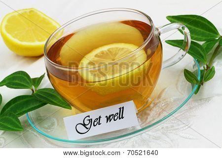 Get well card with lemon tea