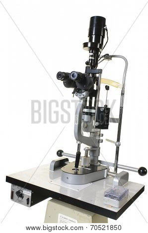 Lake Forest-June 25, 2014: Haag-Streit Slit lamp for eye examination with a Mentor Power supply for the lamp