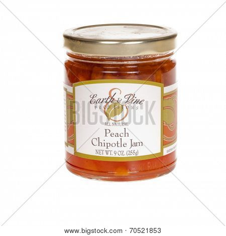 HAYWARD, CA - July 8, 2014: 9oz jar of Earth & Vine Provisions Peach & Chipotle Jam