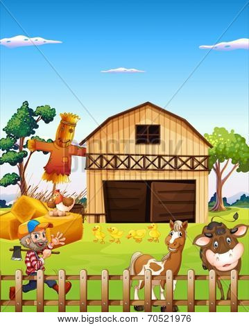 Illustration of a farm house and a farmer