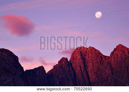 Moon rise, mountain sunset