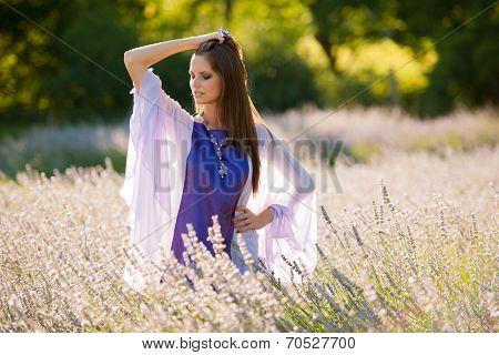 Beautiful Young Woman On Lavander Field - Lavanda Girl