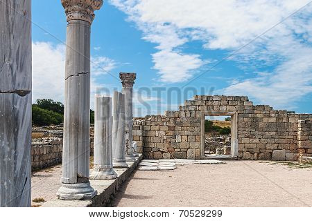 Ancient Greek Basilica And Marble Columns In Chersonesus Taurica. Sevastopol, Crimea