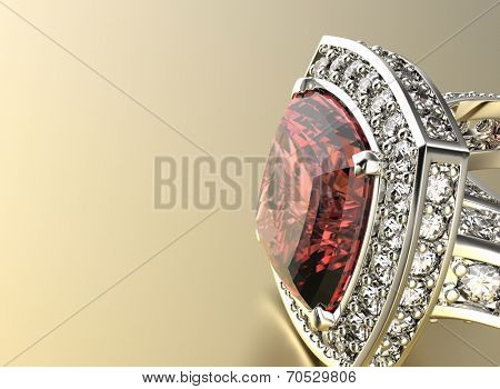 Golden Ring with Diamond. Jewelry background. Ruby