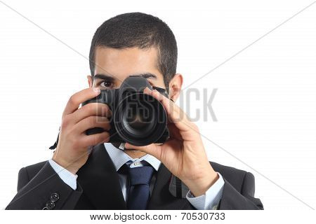 Front View Of A Professional Photographer Taking A Photograph