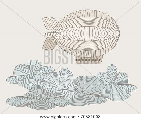 Retro Zeppelin Drawn With Plenty Lines. Objects Grouped And Named In English. No Mesh,gradient, Tran