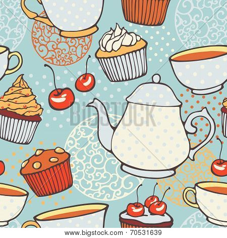 Tea time vector hand drawn seamless pattern. Decorative backgrou