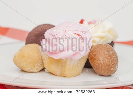 Plate Of Cupcakes And Other Desserts