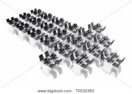 Group Of Office Desks Forming An Arrow