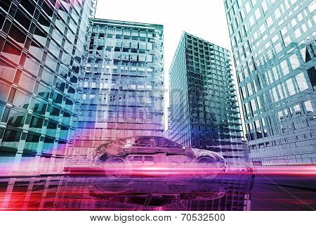 Futuristic Car In The City