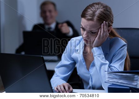 Man Deriding Female Co-worker
