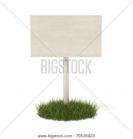 White board in green grass