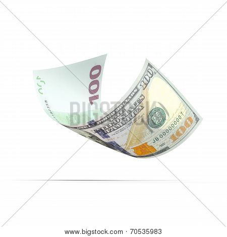 banknote with dollar and euro on different sides