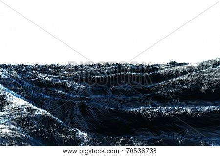 Dark blue rough stormy ocean on white background