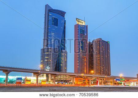 DUBAI, UAE - 3 APRIL 2014: The Grand Midwest Tower Hotel in Dubai, UAE. The Grand Midwest Group owns 4 hotels in Dubai with over 700 rooms.