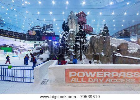 DUBAI, UAE - 3 APRIL 2014: Ski Dubai inside the Mall of the Emirates in Dubai, UAE. Ski Dubai is the Middle East's first indoor ski resort and snow park with 22,500 square meters of indoor ski area.