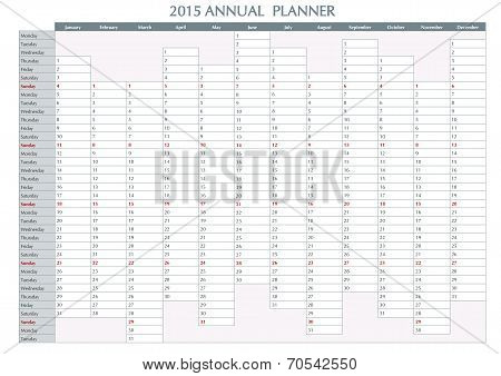 Annual Planner English 2015