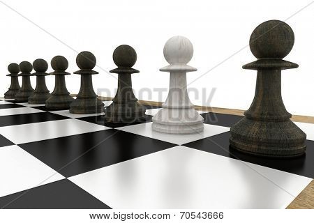 White pawn defecting to black side on white background