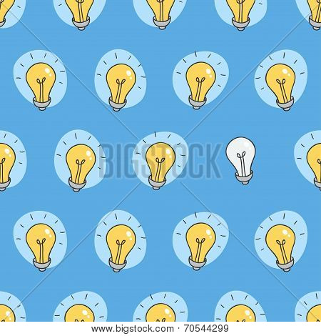 Hand drawn seamless pattern of light bulbs. Idea symbol. Vector illustration. Lamp background in ske