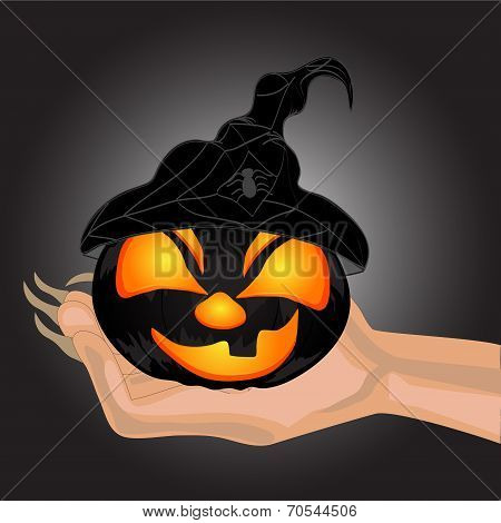 Terrible Pumpkin On A Hand At Witch.halloween. Halloween Banner . Vector Illustration