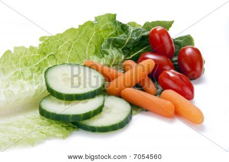 Vegetables On A Lettuce Leaf