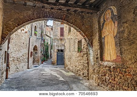Ancient Alley In Bevagna, Umbria, Italy