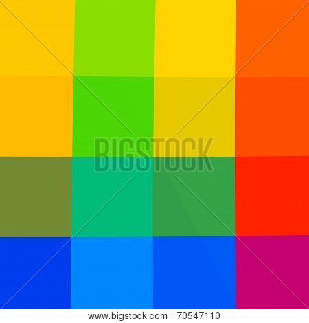Abstract Rainbow Squares Mosaic Background