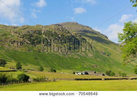 Langdale Valley Lake District Cumbria near Old Dungeon Ghyll England UK in summer blue sky and cloud