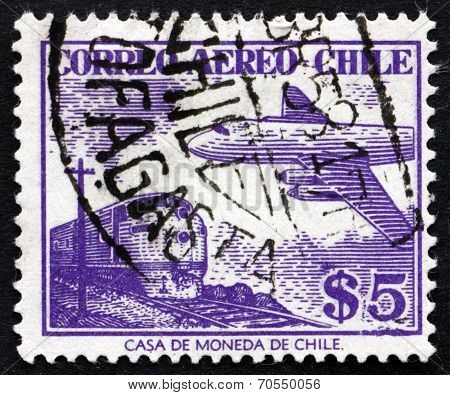 Postage Stamp Chile 1956 Train And Plane