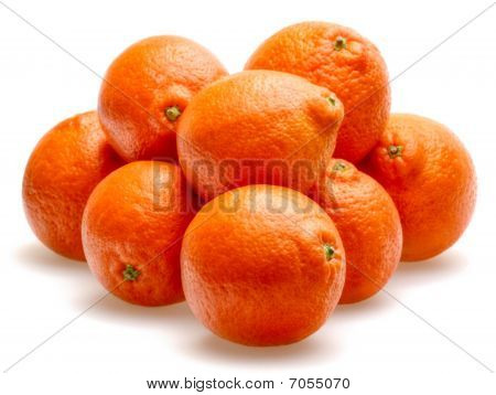 Tangerines Isolated Against White Background
