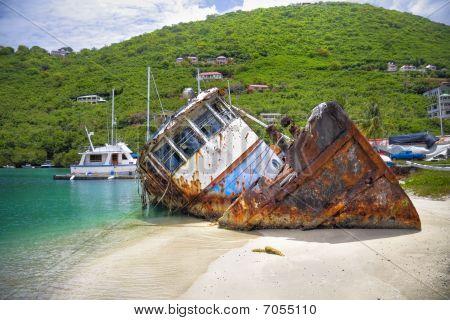 Sunk Boat In The Tropics