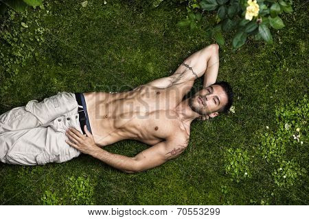 Shirtless Fit Male Model Relaxing Lying On The Grass