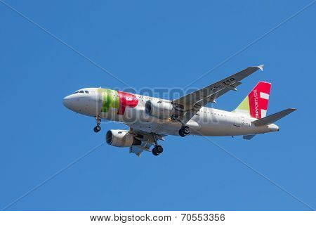 Airbus Is Approaching Funchal Airport At Madeira, Portugal