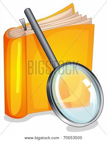 Illustration of a textbook and a magnifying glass