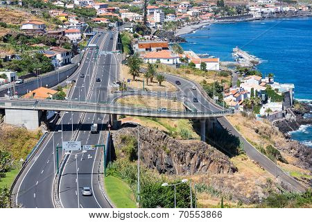 Aerial View At Coast Madeira With Highway Along Santa Cruz