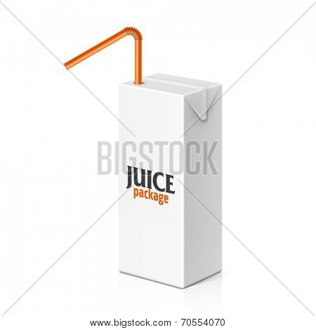 Juice or milk box with drinking straw template. Vector.