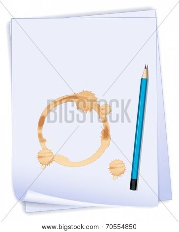 Illustration of an empty paper with a stain and a blue pencil on a white background